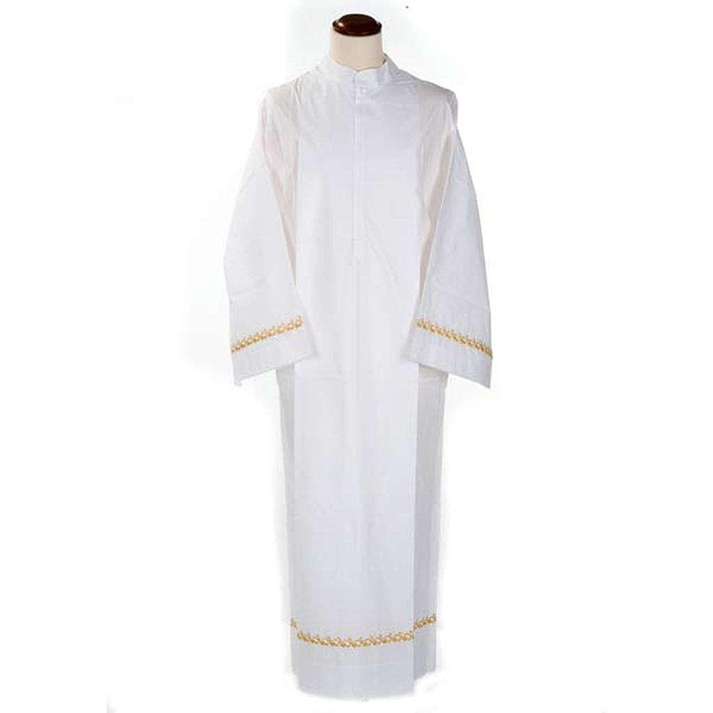Camice bianco cotone decori dorati 4