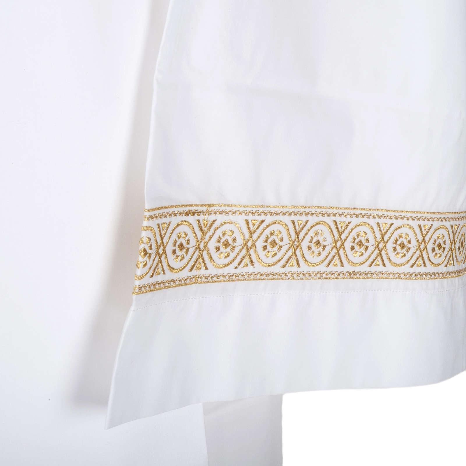 Camice bianco cotone decori torciglioni 4