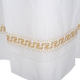 Alba blanca en algodón con rodete dorados s5