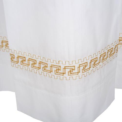 Alba blanca en algodón con rodete dorados 5