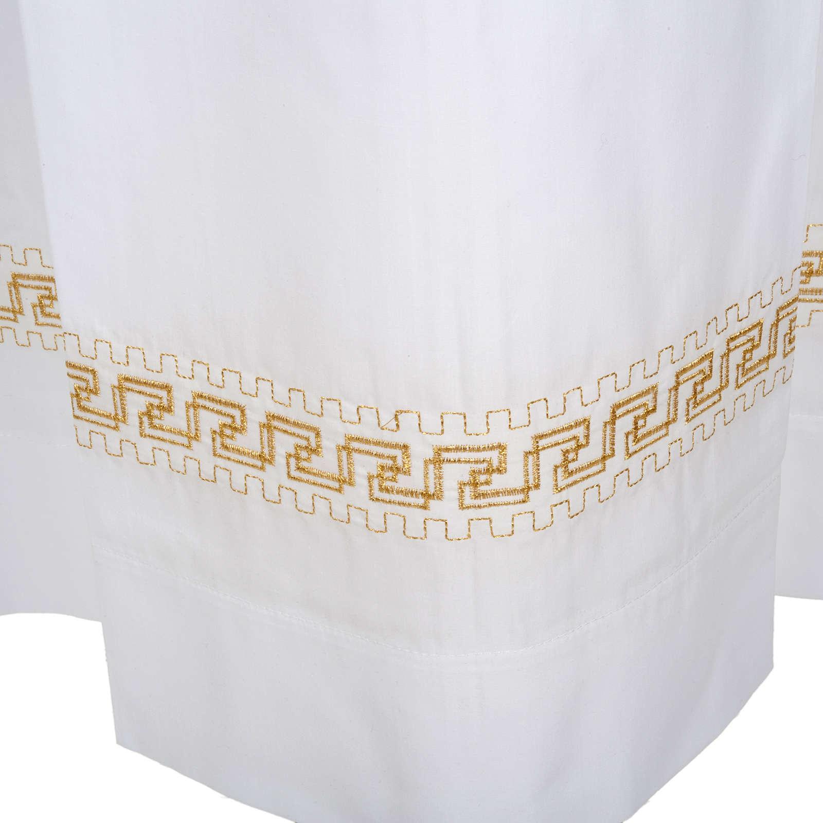 Aube liturgique coton blanc broderies géométriques 4
