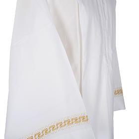 Aube liturgique coton blanc broderies géométriques s4
