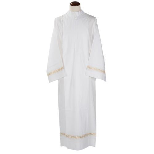 Aube liturgique coton blanc broderies géométriques 1