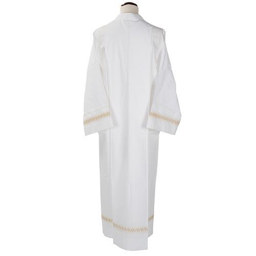 Aube liturgique coton blanc broderies géométriques 2