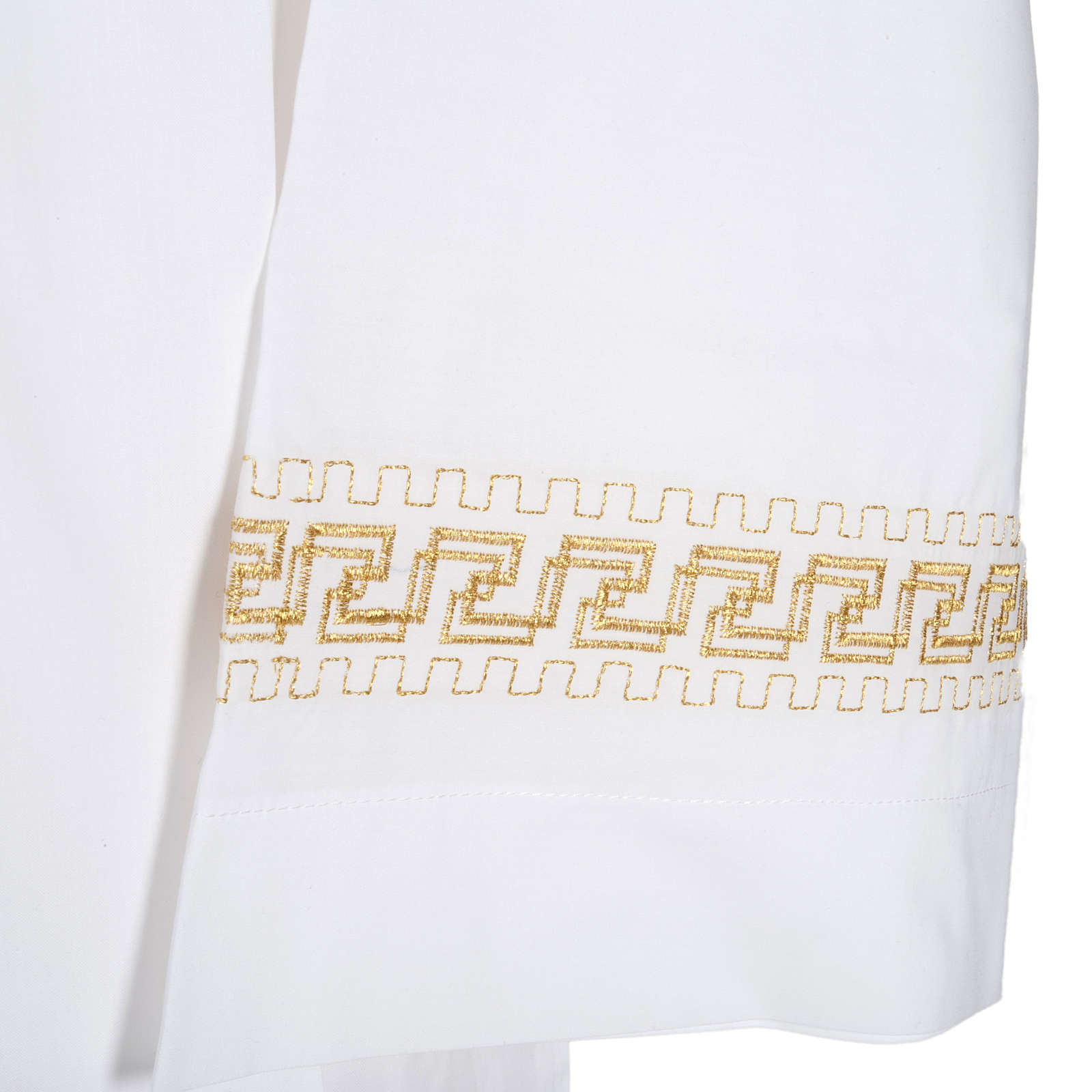 Monastic Alb with embroidered gold motif, white cotton 4