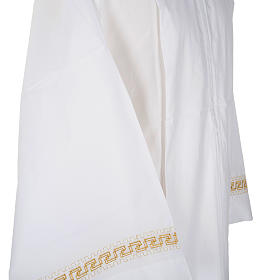 Monastic Alb with embroidered gold motif, white cotton s4