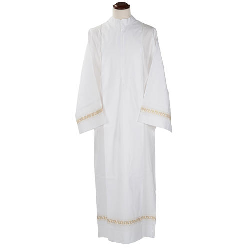 Monastic Alb with embroidered gold motif, white cotton 1