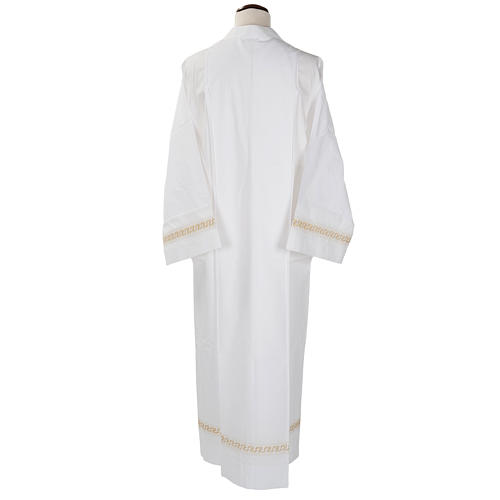 Monastic Alb with embroidered gold motif, white cotton 2
