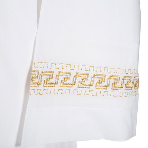 Monastic Alb with embroidered gold motif, white cotton 3