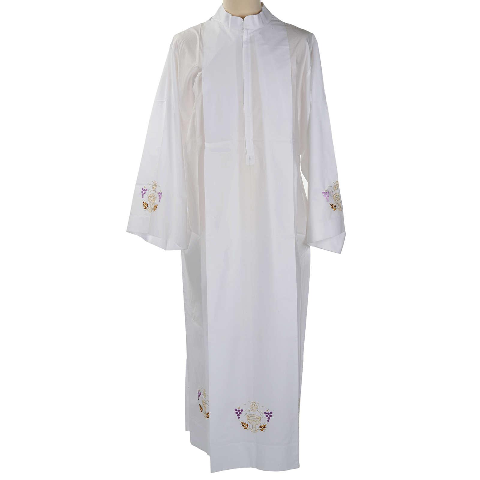 Camice bianco lana calice uva spighe 4