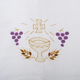 Camice bianco lana calice uva spighe s2
