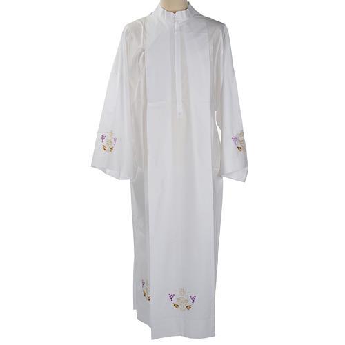 Camice bianco lana calice uva spighe 1