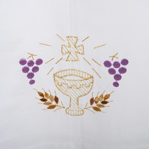 Camice bianco lana calice uva spighe 2