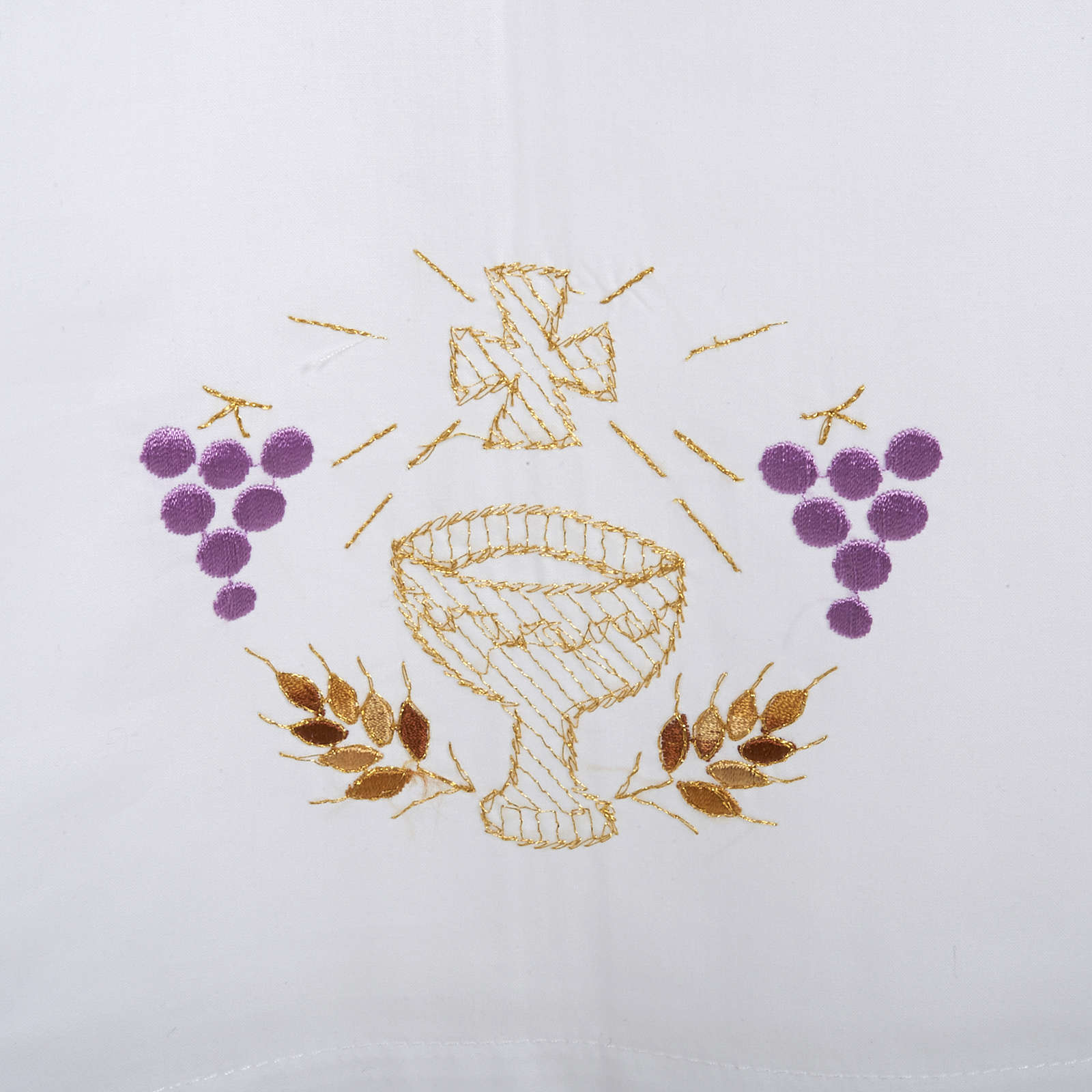 White alb in wool, chalice, grapes, earis of wheat 4