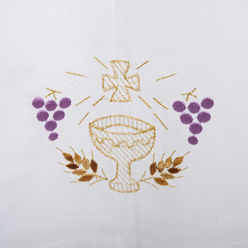 White alb in wool, chalice, grapes, earis of wheat 2