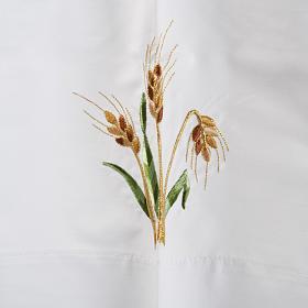 White alb in wool, paten, grapes, ears of wheat s3