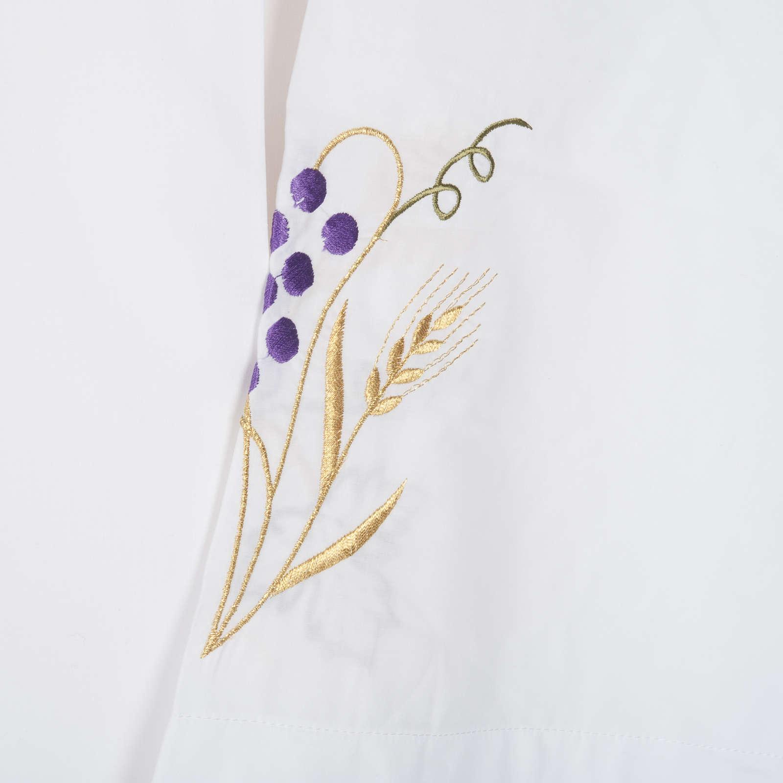 Camice bianco lana spiga uva 4