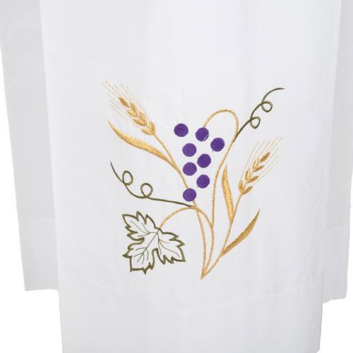 Camice bianco lana spiga uva 2