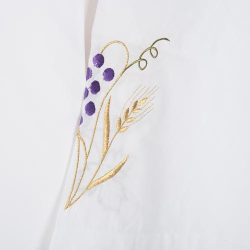 Camice bianco lana spiga uva 3