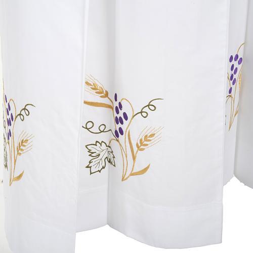 Camice bianco lana spiga uva 5
