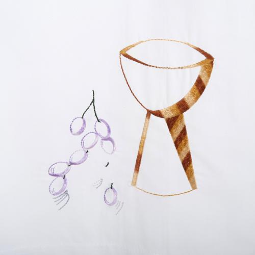 Camice bianco lana calice uva 2