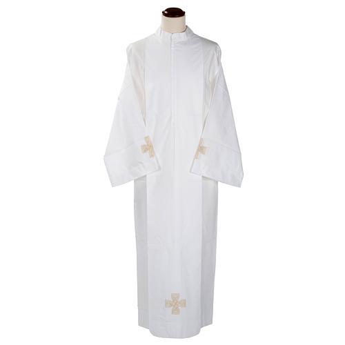 Camice bianco lana croce dorata 1