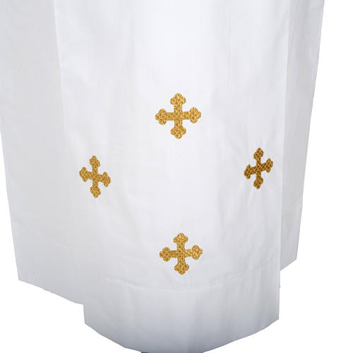 Alba blanca de lana cruces decoradas 2