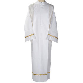 Camice bianco lana decori dorati s1