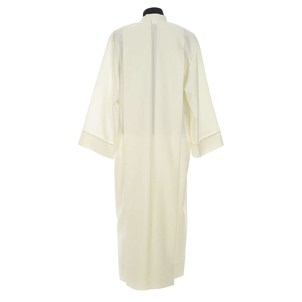 Liturgical alb with 2 pleats and zipper at front in polyester 4