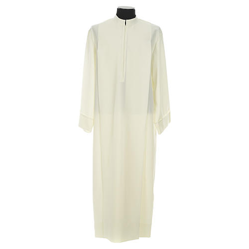 Liturgical alb with 2 pleats and zipper at front in polyester 1