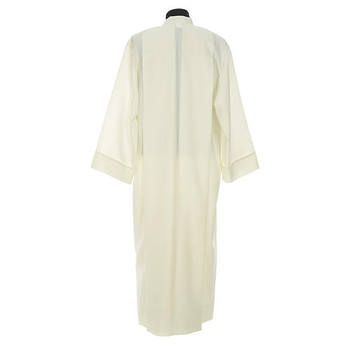 Liturgical alb with 2 pleats and zipper at front in polyester 2
