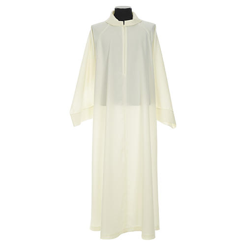 Liturgical alb with false hood in ivory polyester 1