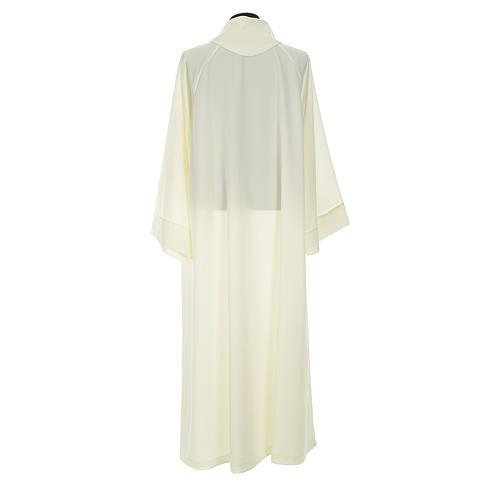 Liturgical alb with false hood in ivory polyester 2