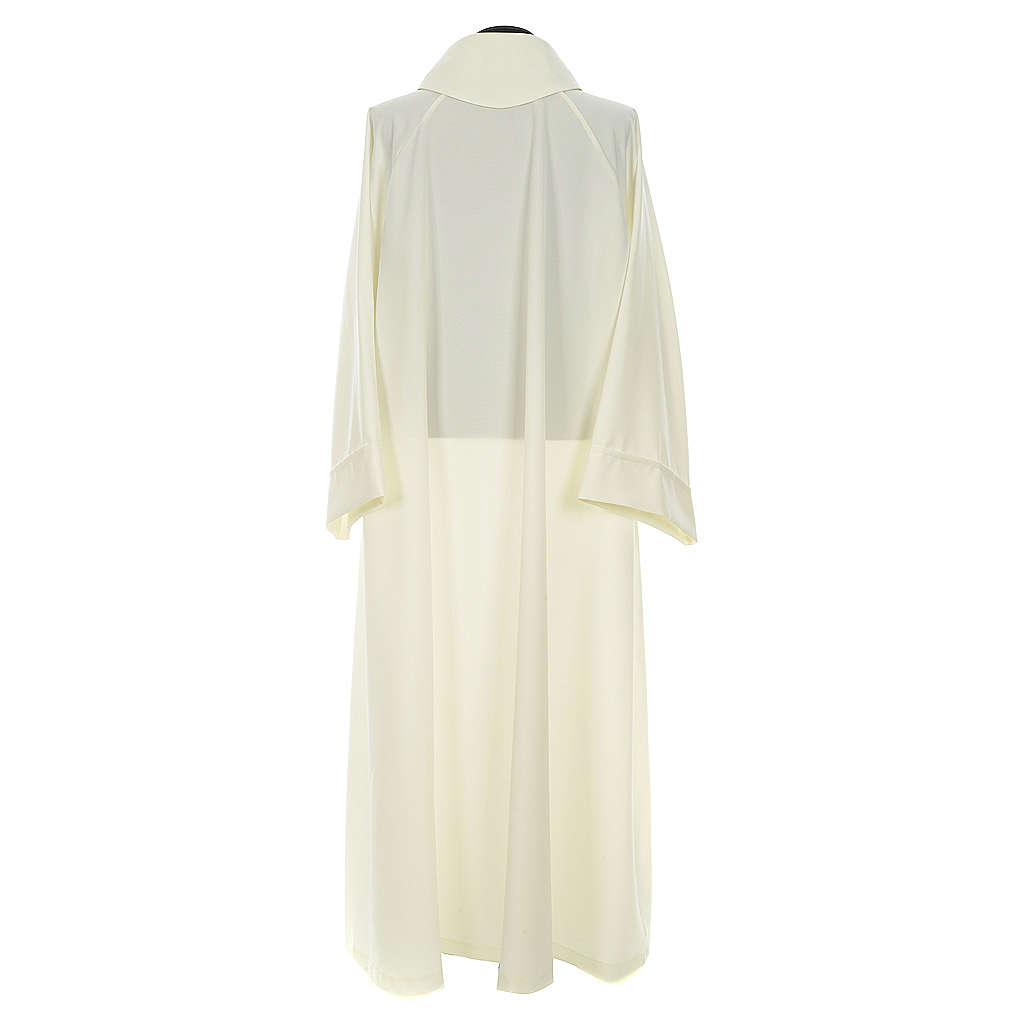 Liturgical flared alb in ivory polyester 4