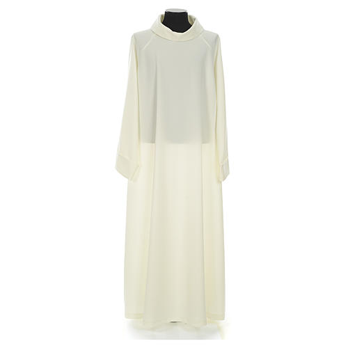Liturgical flared alb in ivory polyester 1