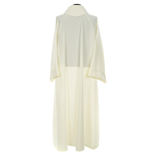 Liturgical flared alb in ivory polyester 2