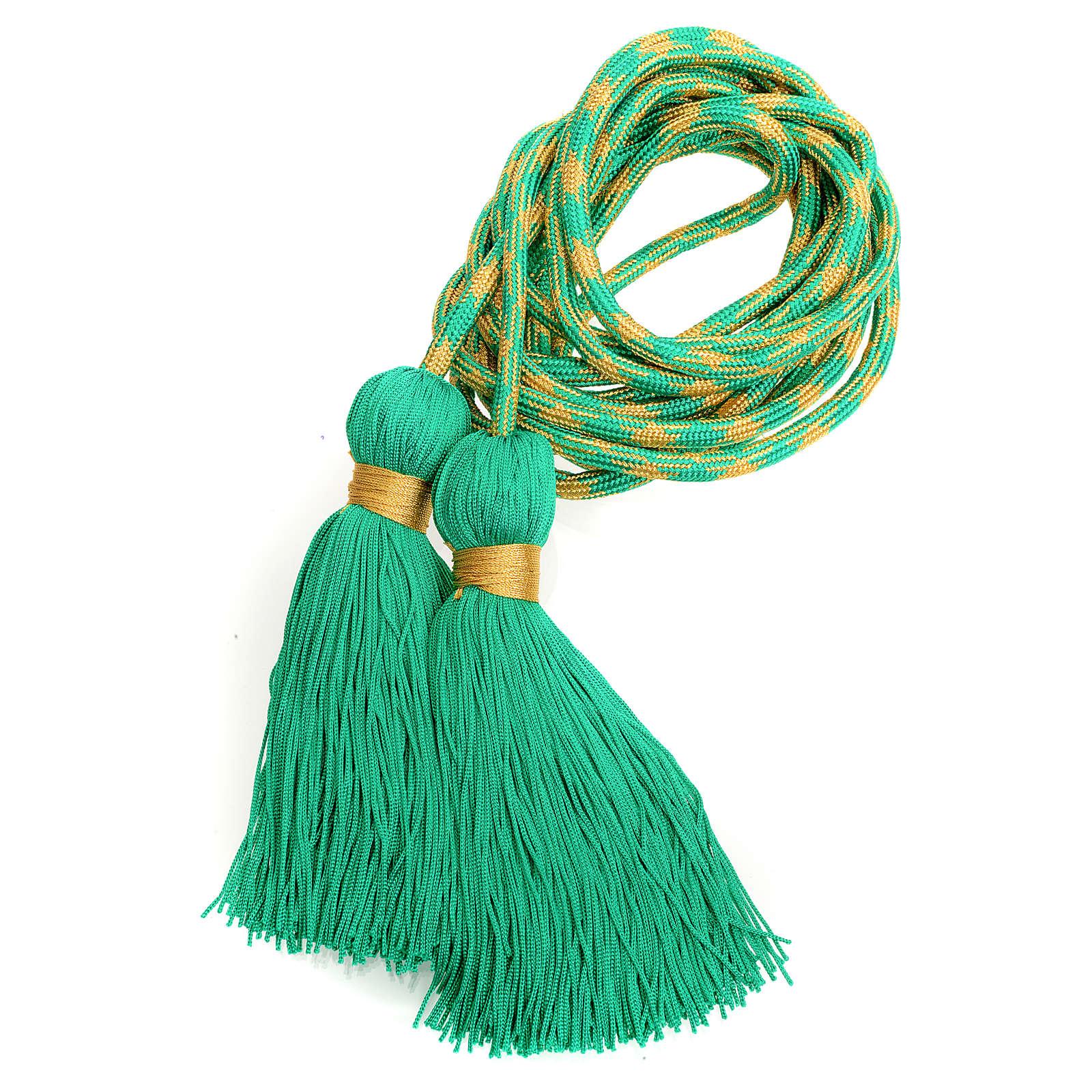 Cíngolo sacerdotal color verde y dorado 4