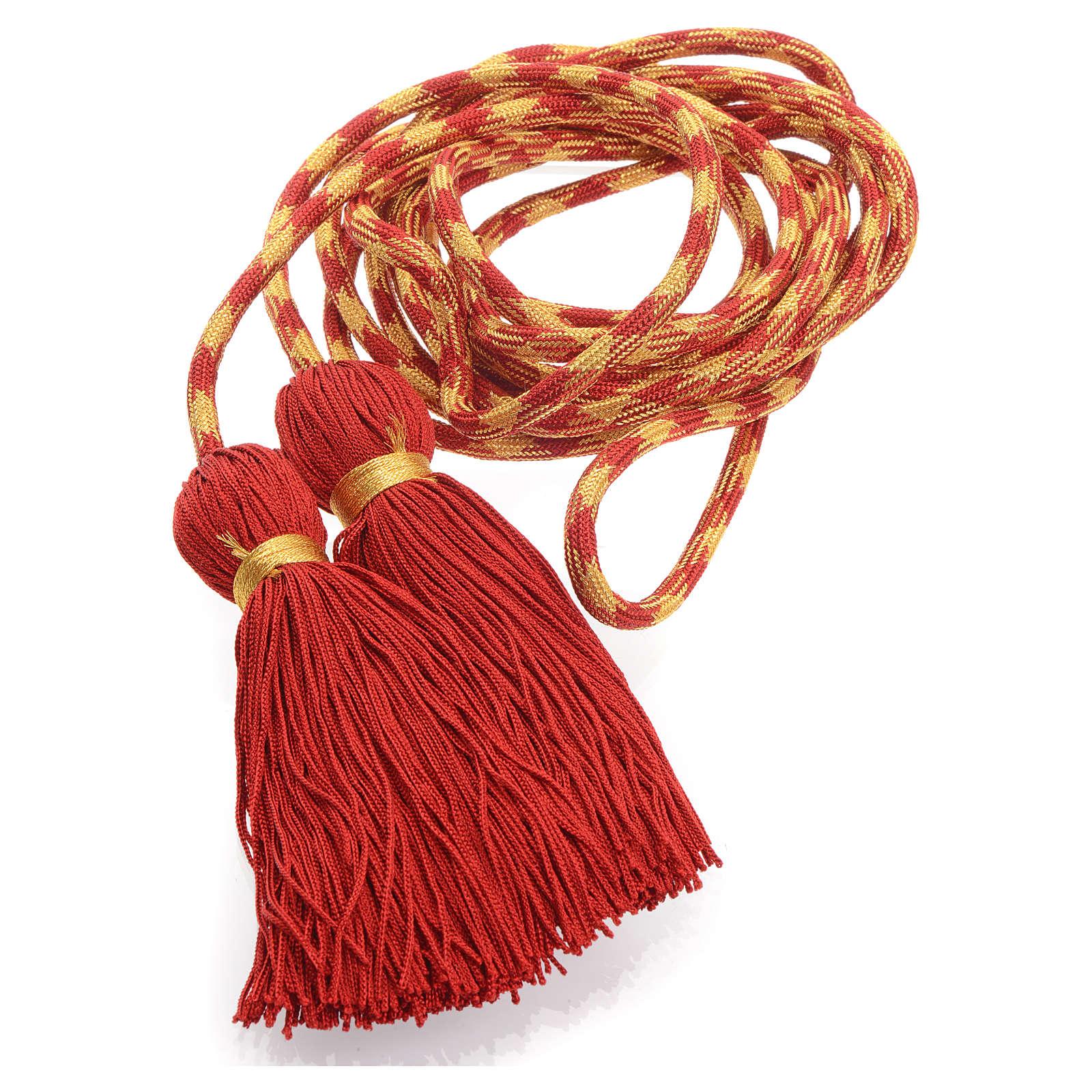 Cíngolo sacerdotal color rojo y dorado 4