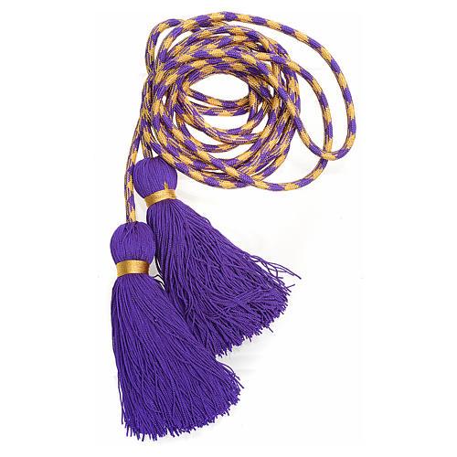 Cíngulo sacerdotal color morado y dorado | venta online en HOLYART