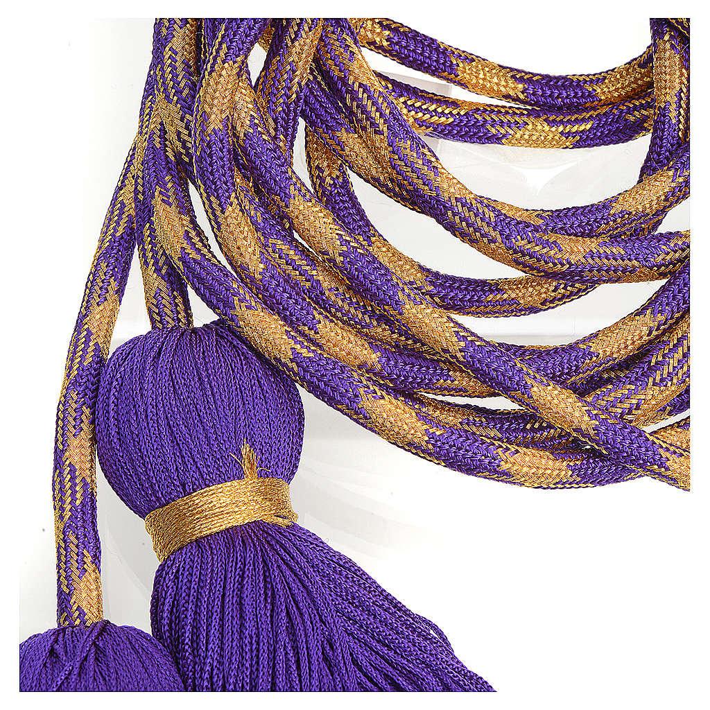 Cingulum kapłańskie kolor fioletowozłoty 4