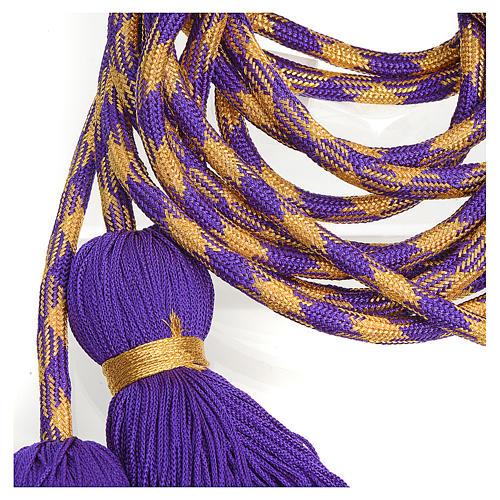 Cingulum kapłańskie kolor fioletowozłoty 2