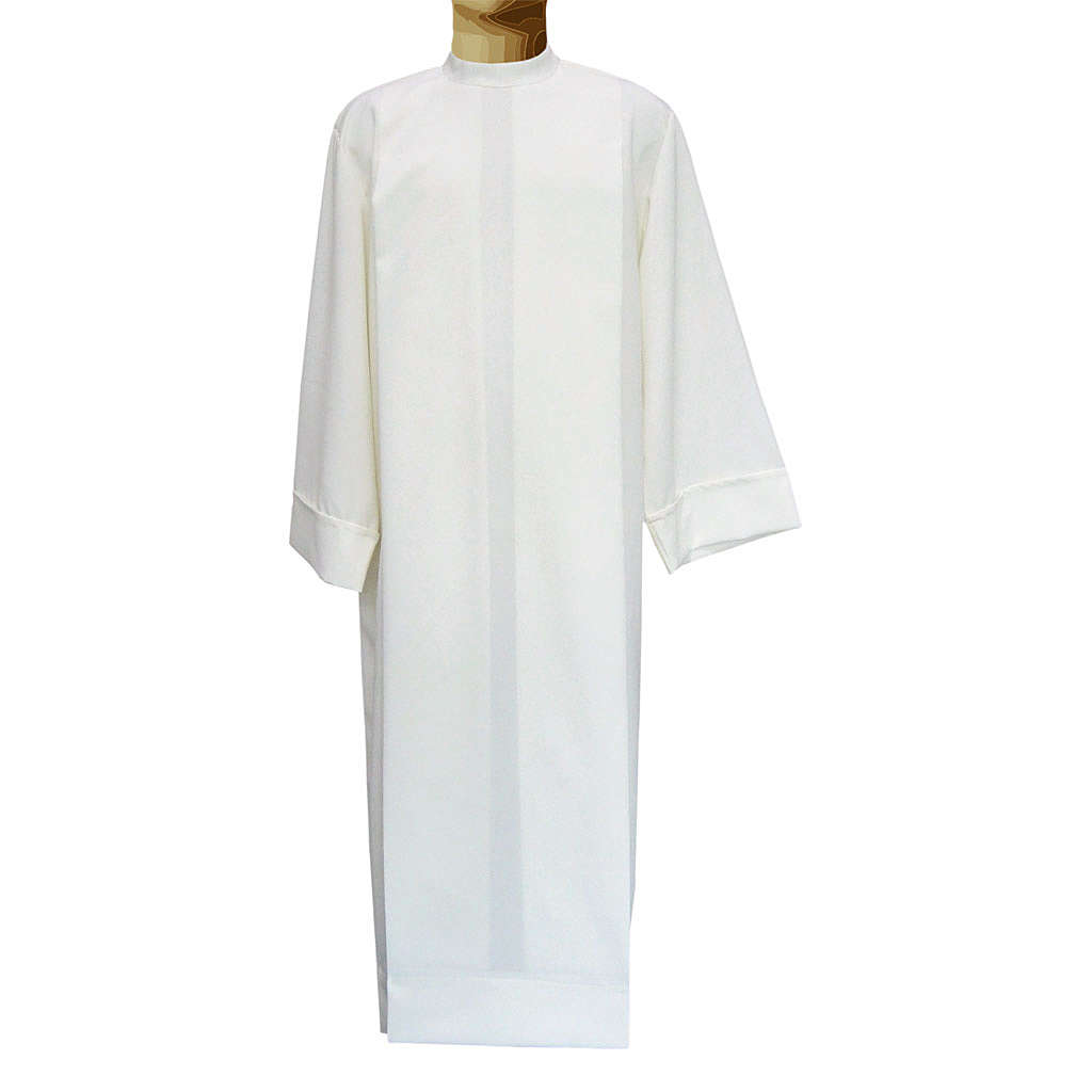 Ivory alb in polyester and wool with 2 pleats 4