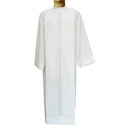 Ivory alb in polyester and wool with 2 pleats 1