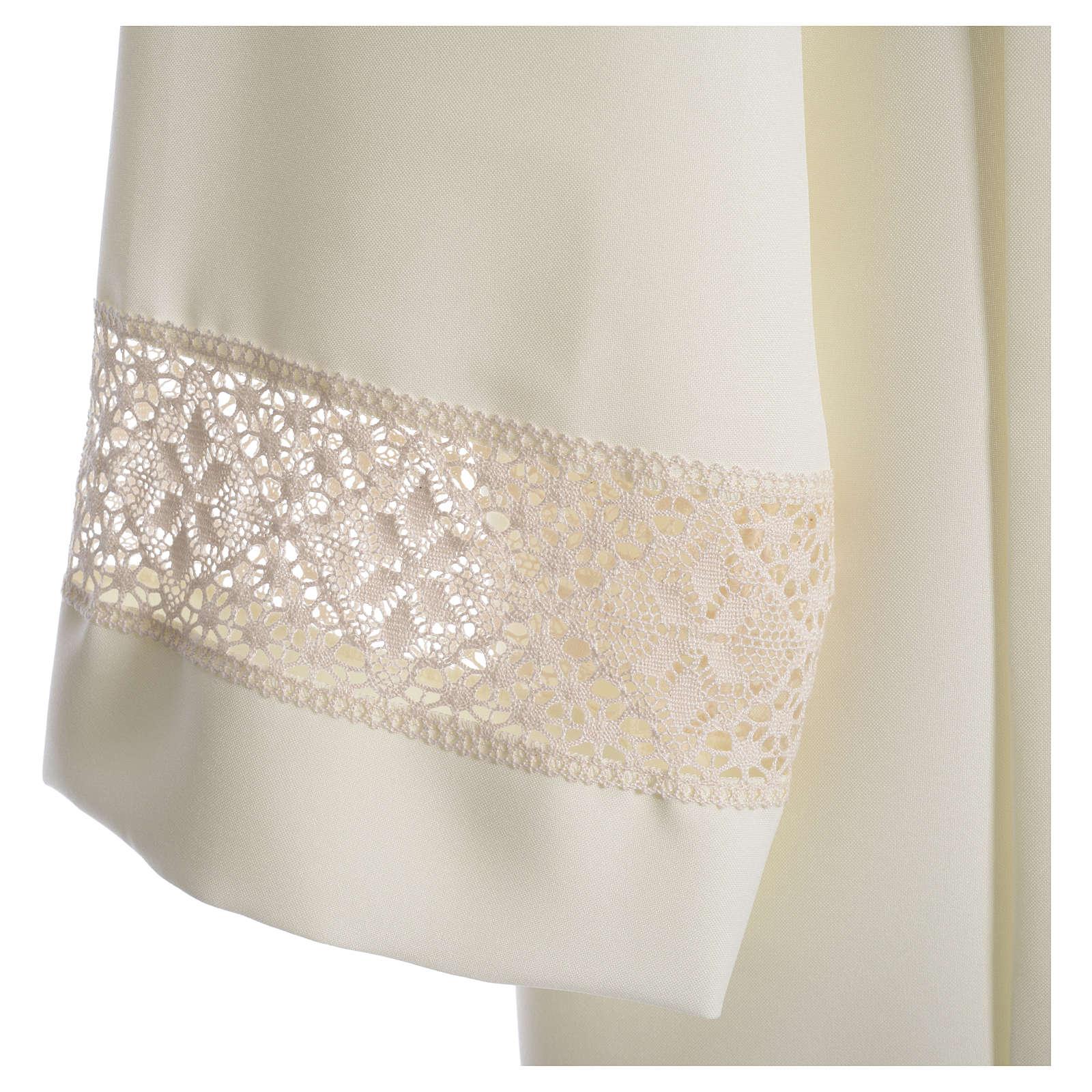 Camice avorio 100% poliestere decori su manica tramezzo merletto 4