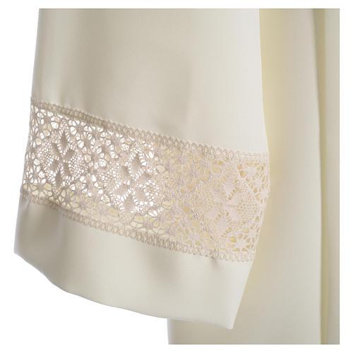 Camice avorio 100% poliestere decori su manica tramezzo merletto 3