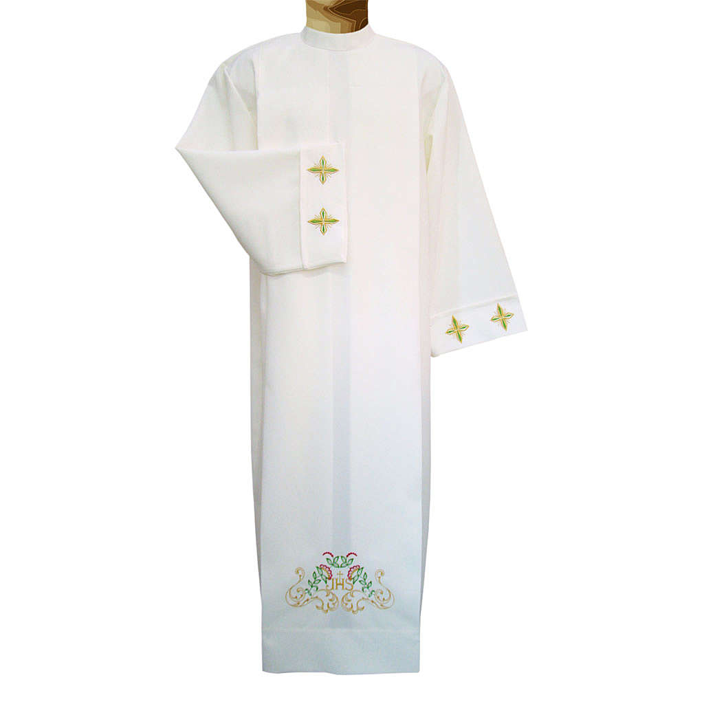 Deacon Alb with crosses and floral embroidery in polyester, ivory color 4