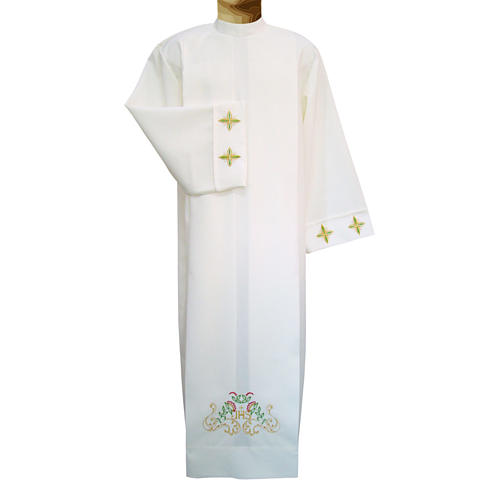 Deacon Alb with crosses and floral embroidery in polyester, ivory color 1