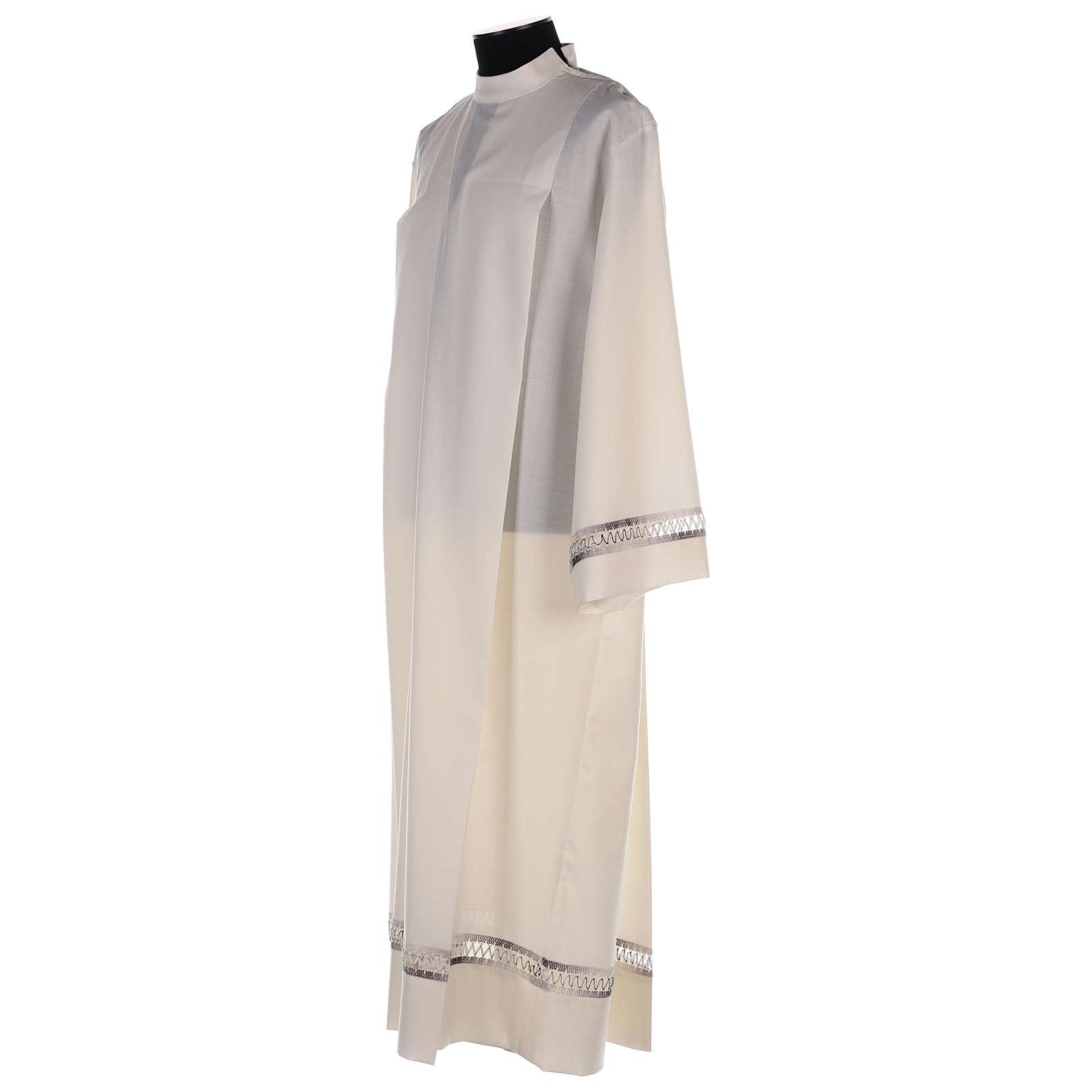 Camice avorio 55% poliestere 45% lana con gigliuccio RICAMO MANO 4