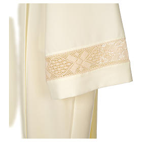 Clergy Alb with lace bands in polyester shoulder zipper, ivory s4