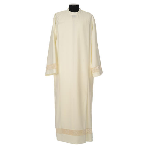 Clergy Alb with lace bands in polyester shoulder zipper, ivory 1